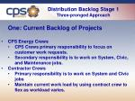 distribution backlog stage 1 three pronged approach