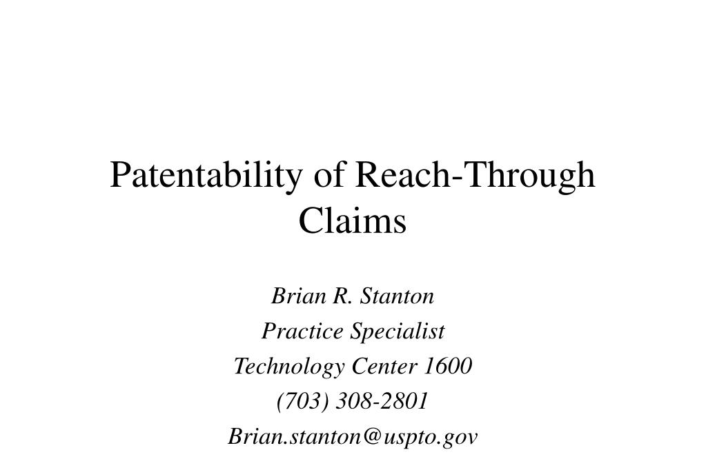 patentability of reach through claims l.