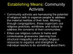 establishing means community activists