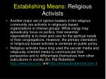 establishing means religious activists