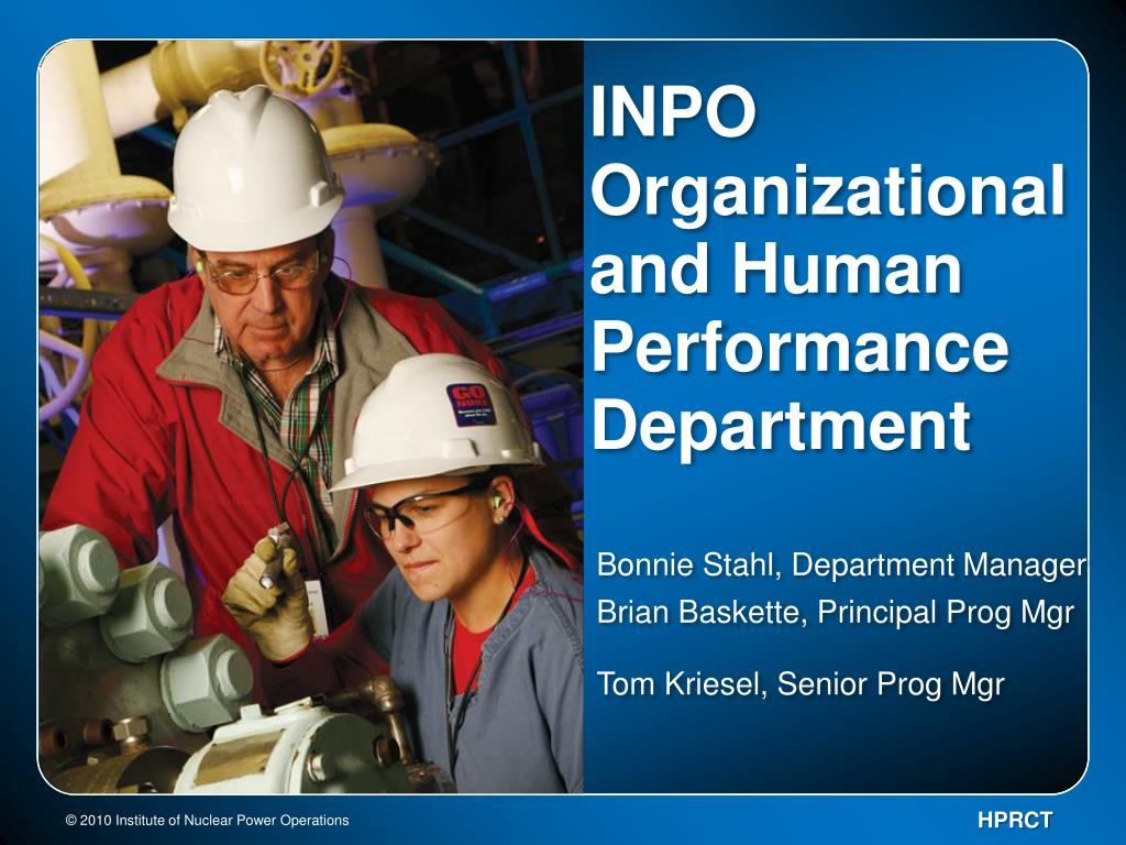 inpo organizational and human performance department l.
