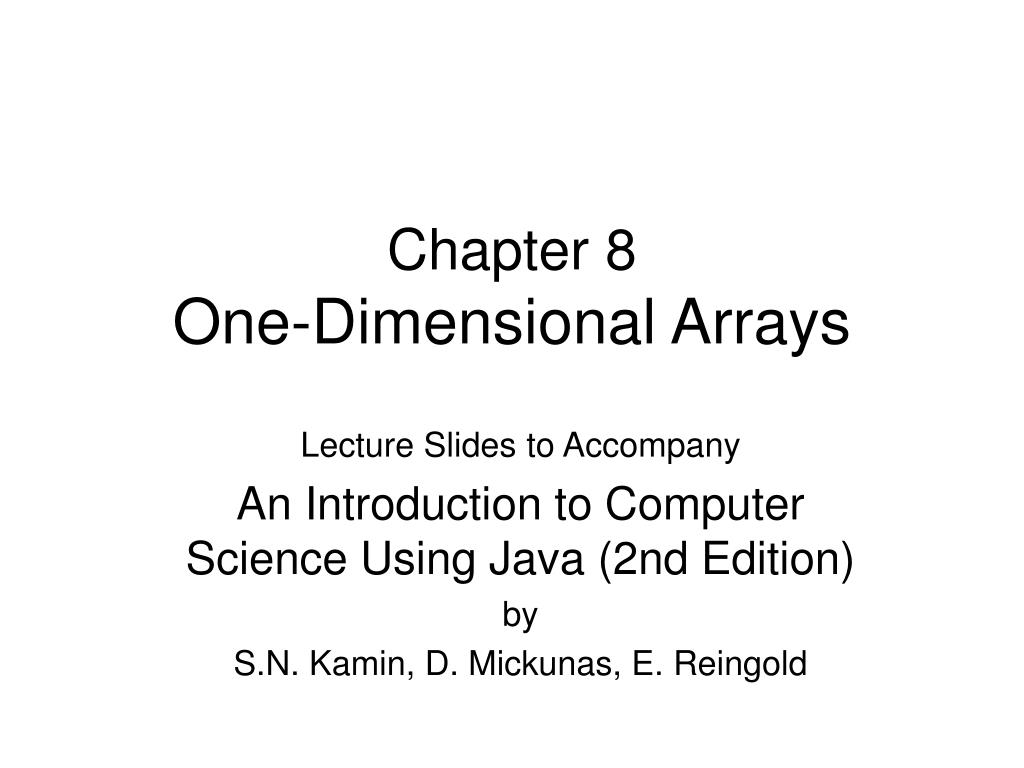 chapter 8 one dimensional arrays l.