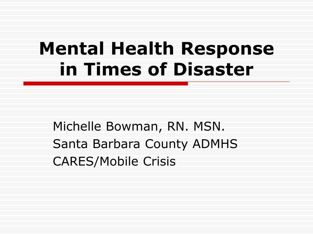 mental health response in times of disaster l.