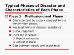 typical phases of disaster and characteristics of each phase10