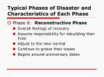 typical phases of disaster and characteristics of each phase12
