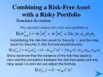 combining a risk free asset with a risky portfolio24