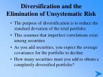 diversification and the elimination of unsystematic risk