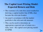 the capital asset pricing model expected return and risk