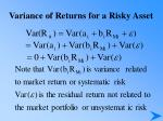 variance of returns for a risky asset