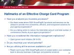 hallmarks of an effective charge card program