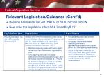 relevant legislation guidance cont d19