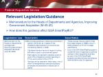 relevant legislation guidance17