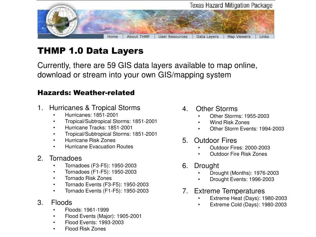 THMP 1.0 Data Layers