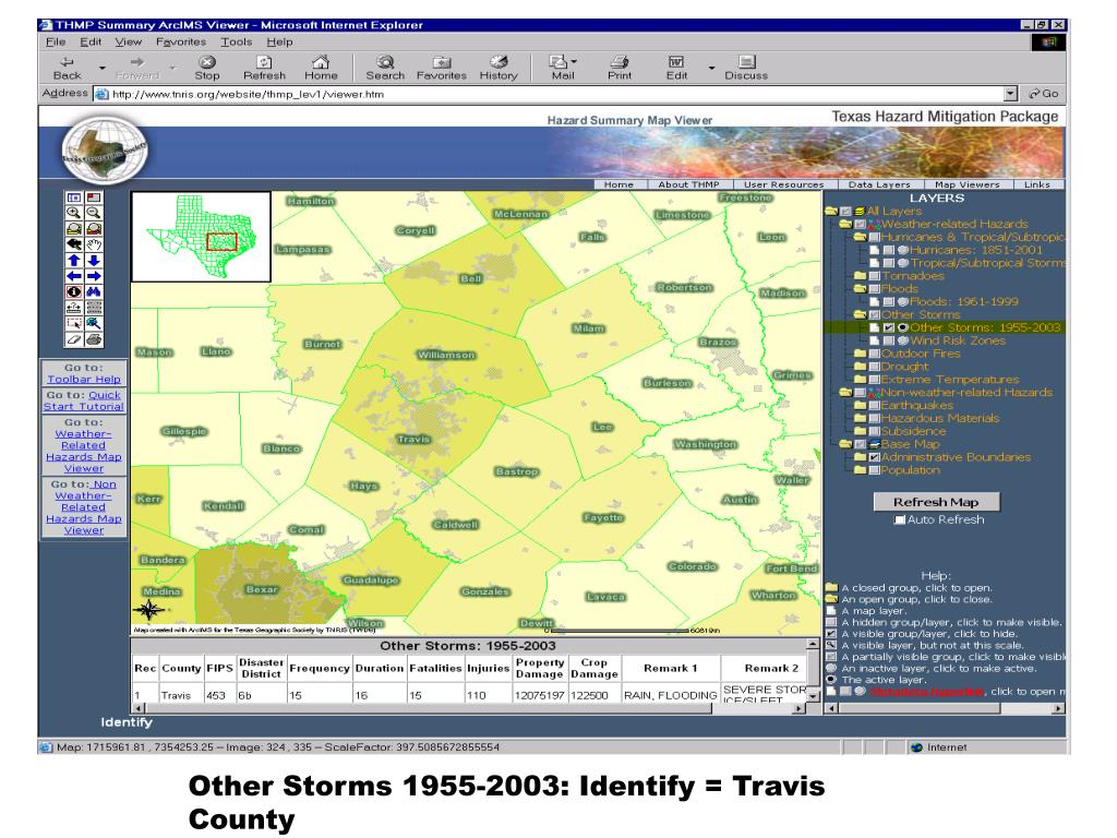 Other Storms 1955-2003: Identify = Travis County