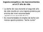 ingesta energ tica y de macronutrientes en el 2 a o de vida
