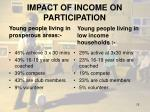 impact of income on participation