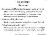 next steps reviews