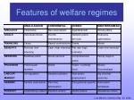 features of welfare regimes