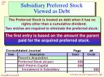 subsidiary preferred stock viewed as debt