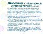 discovery information corporate portals continued14