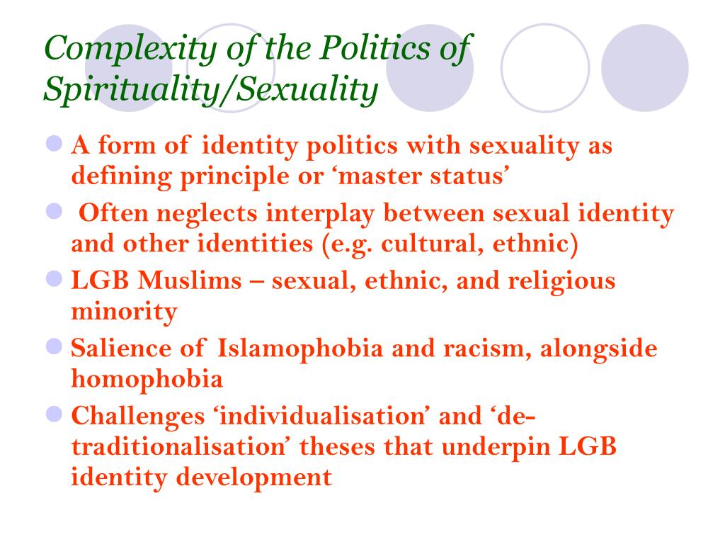 Complexity of the Politics of Spirituality/Sexuality