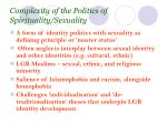 complexity of the politics of spirituality sexuality