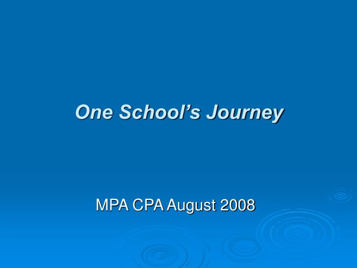 one school s journey n.