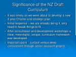 significance of the nz draft curriculum