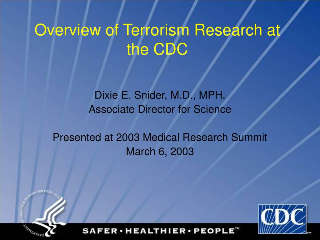 overview of terrorism research at the cdc l.