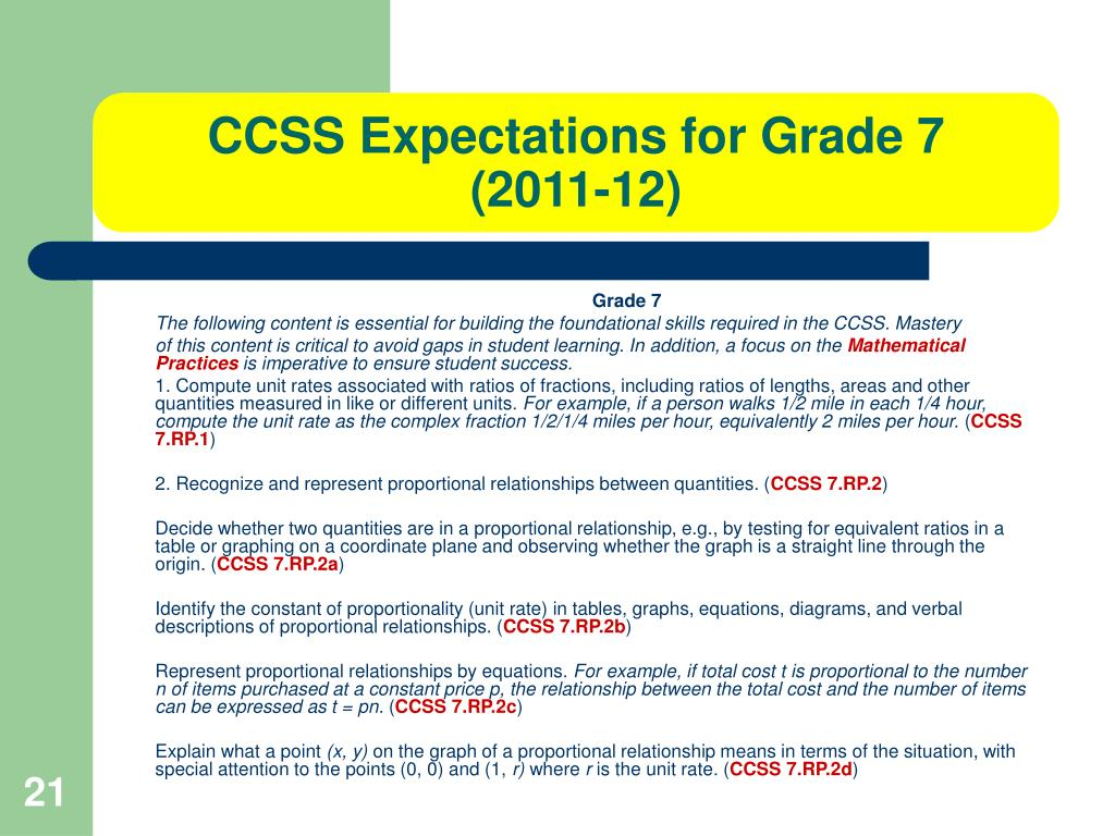 CCSS Expectations for Grade 7