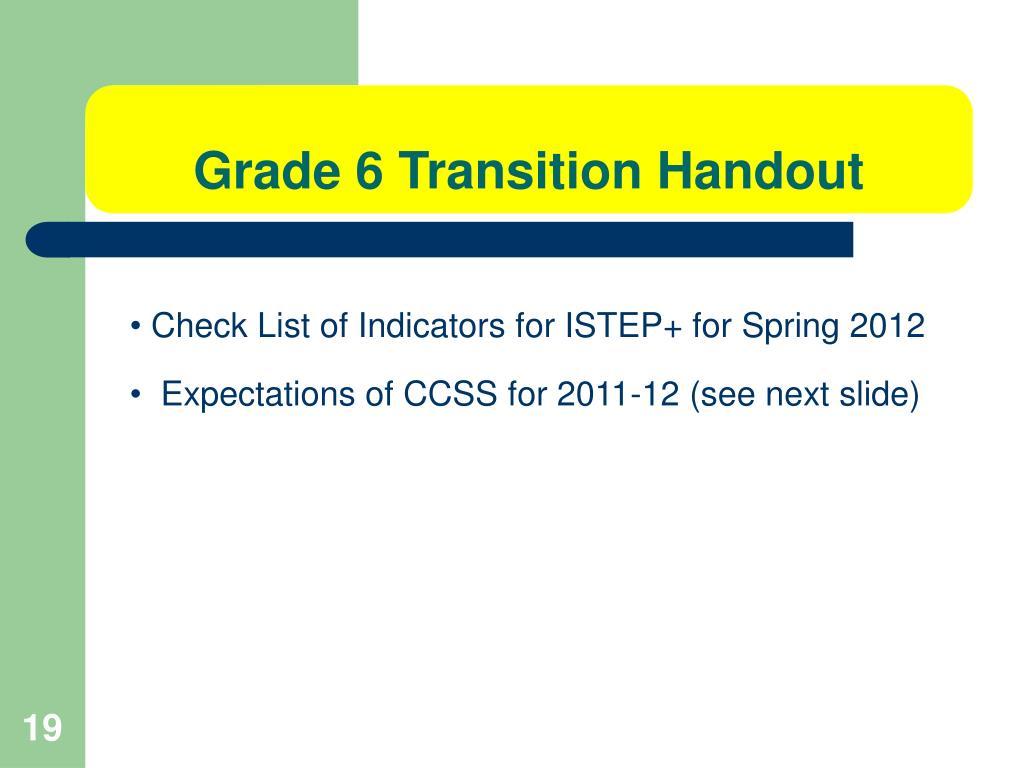 Grade 6 Transition Handout