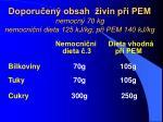 doporu en obsah ivin p i pem nemocn 70 kg nemocni n dieta 125 kj kg p i pem 140 kj kg