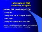 interpretace bmi vzhledem k podv iv