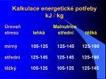 kalkulace energetick pot eby kj kg