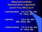 stanoven pot eby hlavn ch ivin v gramech pacient 70 kg bmi 22 kg m 2