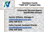 stanislaus county tanf ecf contact info