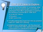 tanf ecf ideas to explore