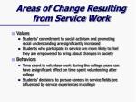 areas of change resulting from service work