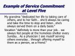 example of service commitment at level five