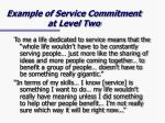 example of service commitment at level two