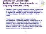 sixth rule of construction additional points from appendix on mitigating measures cont