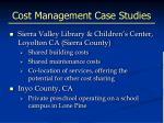 cost management case studies