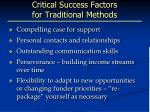 critical success factors for traditional methods
