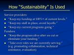 how sustainability is used