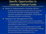 specific opportunities to leverage federal funds
