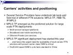 carriers activities and positioning