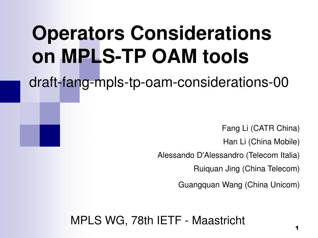 operators considerations on mpls tp oam tools l.