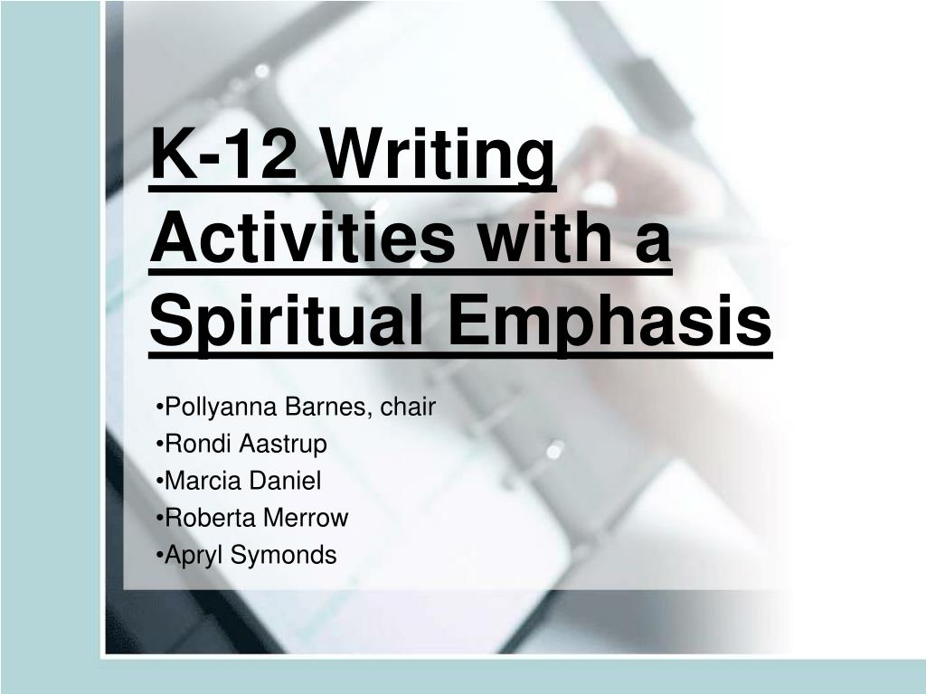 k 12 writing activities with a spiritual emphasis l.