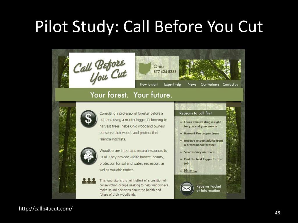 Pilot Study: Call Before You Cut