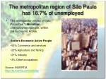 the metropolitan region of s o paulo has 16 7 of unemployed